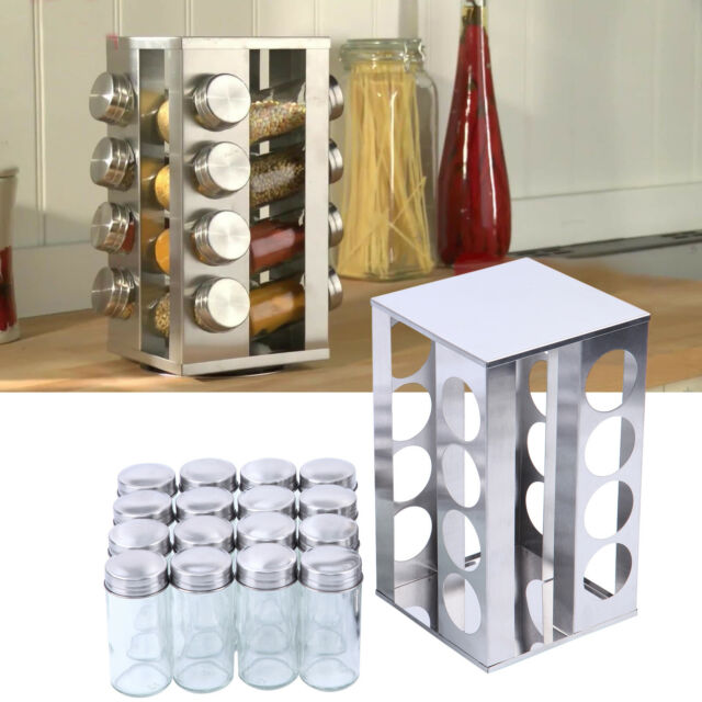 16 Jar Rotating Spice Rack Kitchen Seasoning Rack Stainless Steel Stand Holder