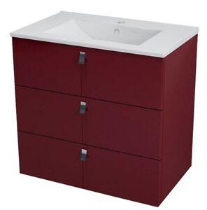 Möbel ZuverläSsig Waschbeckenunterschrank Mitra-serie Softclose 75,5x70x46cm Burgund Mdf 100% Garantie