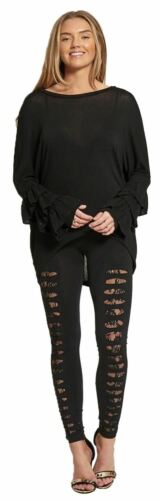 New Womens Ripped Ruched Mesh Cross Skinny Stretchy Leggings Trousers 8-14