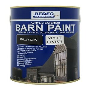 Bedec Acrylic Exterior Barn Paint Matt Black For All External Wood Ebay