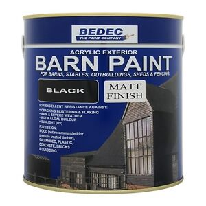 Bedec acrylic exterior barn paint matt black for all external wood ebay - Acrylic paint exterior plan ...