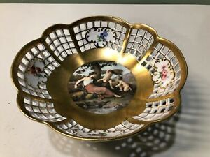 BEAUTIFUL Vintage KPM Porcelain Fruit Bowl Hand Painted Raised Gold UNIQUE RARE
