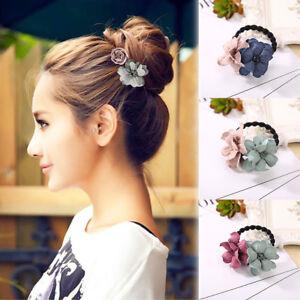 Cn-Retro-Chiffon-Elastique-Fleur-Attache-de-Cheveux-Corde-Serre-Tetes-Femme