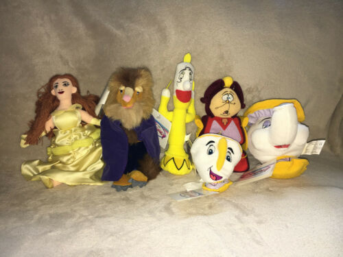 LOT OF 6 Disney Beanies Plush BEAUTY AND THE BEAST Belle Lumiere Cogsworth