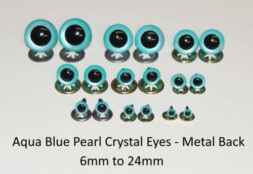 AQUA BLUE PEARL Crystal Eyes with METAL BACKS Teddy Bear Soft Toy Animal Safety