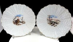 "ENGLISH PORCELAIN 2 PIECE EMBOSSED SHELL DESIGN SCENIC 7 1/2"" SCALLOPED PLATES"