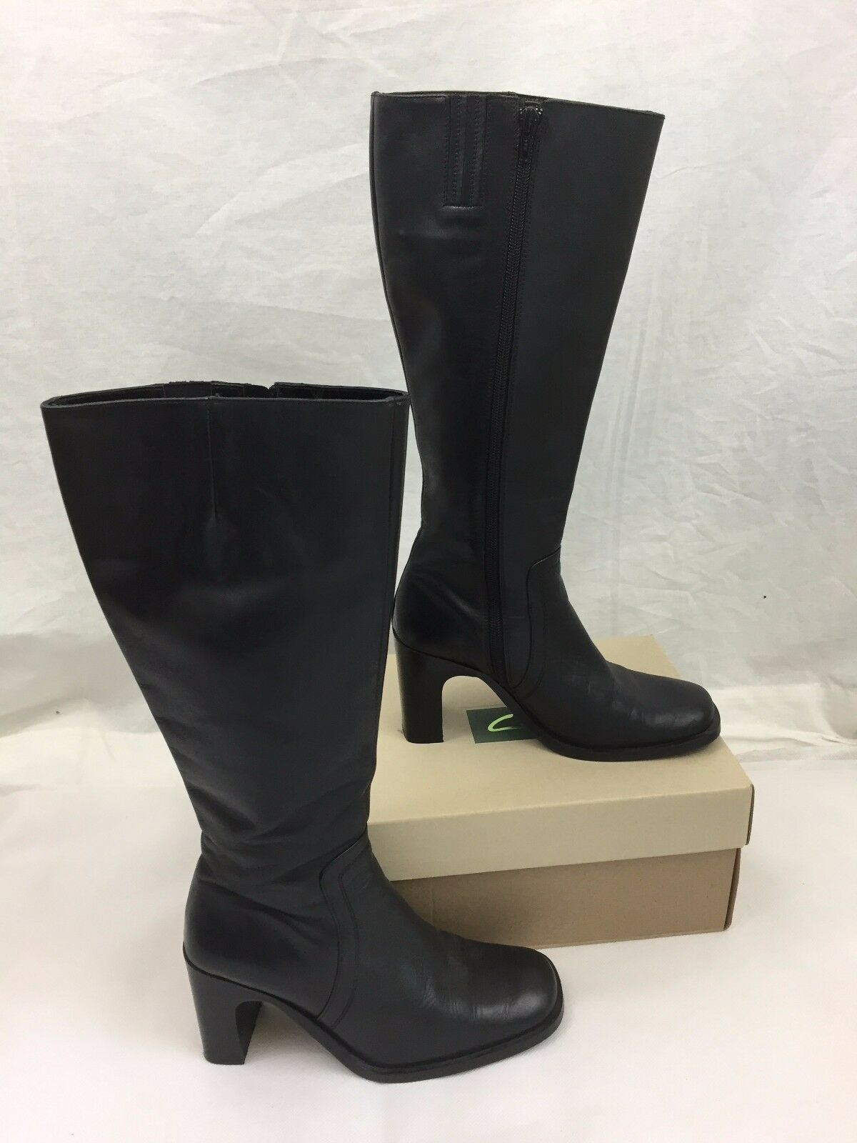 NEXT BLACK LEATHER CALF LENGTH Stiefel WITH SQUARE TOES & 37 HEELS SZ 4.5 EUR 37 & -VGC b2ca1a