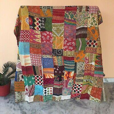 Indian Vintage Kantha Quilt Handmade Patchwork Cotton Bedspread Bedding Blanket