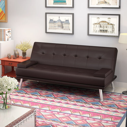 Luxury Faux Leather Linen Fabric 3 Seater Sofa Bed Padded Seat Sofabed Settee
