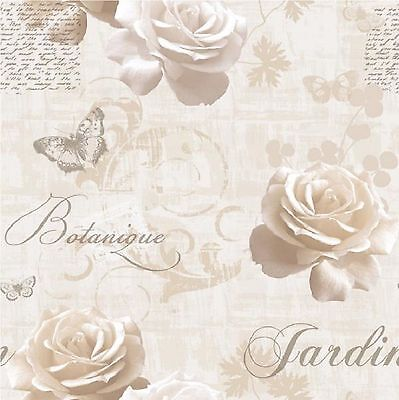 MURIVA BOTANICAL GARDEN WALLPAPER cream brown beige with silver butterfly
