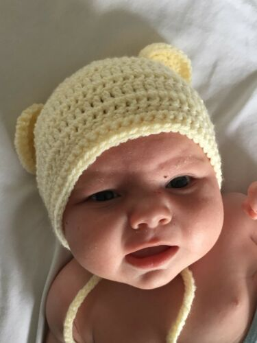 HANDMADE IN UK Crochet Knit Bear Baby Bonnet Hat Photo Prop All Colours