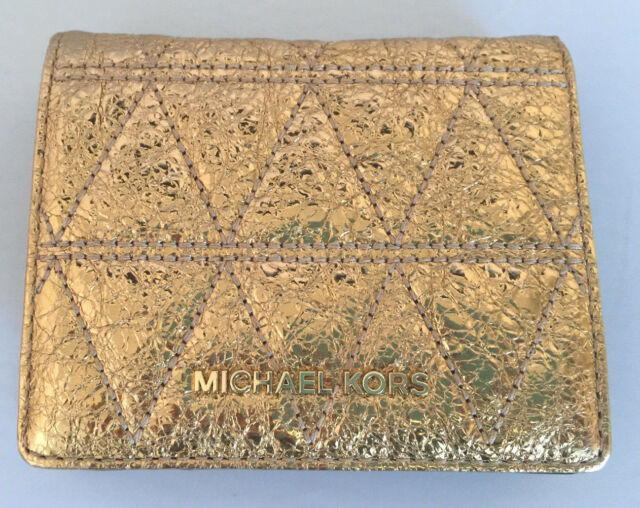 d3e8d218971f Michael Kors Money Pieces Flap Card Holder Wallet Crackle Pale Gold Tone No  Box