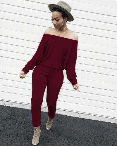 Women boat neck long sleeves casual club party solid color long jumpsuits