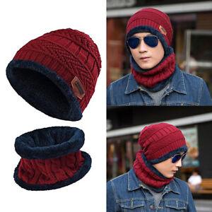 Homme Femme Set Bonnet + Écharpe Cache-cou Chapeaux Tricoté Crochet ... 2755ef67a08