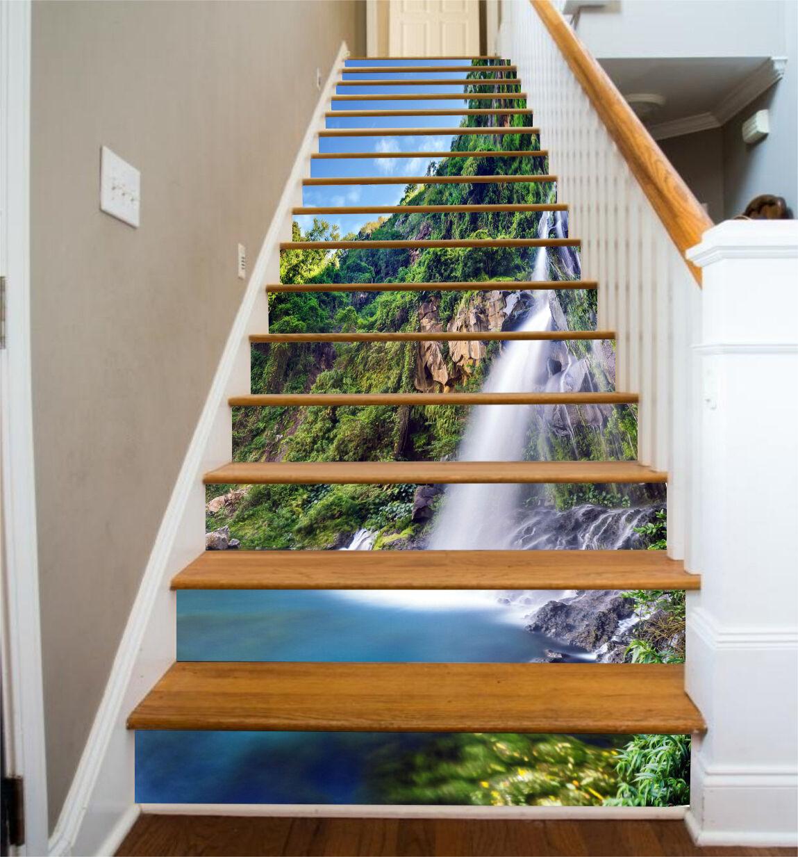 3D Waterfall Lake 5 Stair Risers Decoration Photo Mural Vinyl Decal Wallpaper UK
