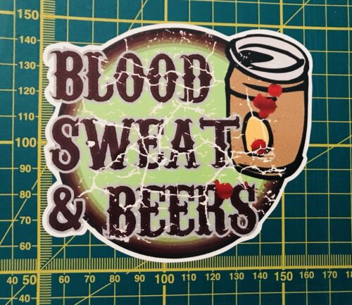 sang Sueur et Bières Custom Vinyle Imprimé Voiture Autocollant Graphique Drôle