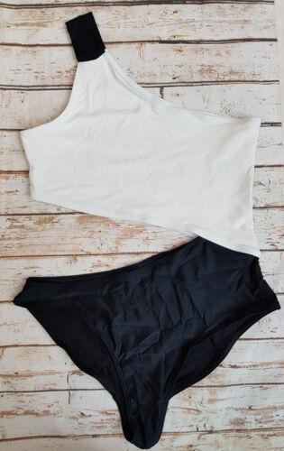 Noisy May Tan Lines Colour Block One Shoulder Swimsuit Swimwear Marbella SE30