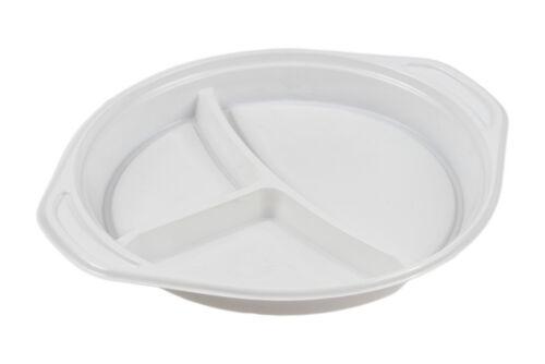 200 x Menüteller 3-geteilt Plastikteller Einweg Teller Einweggeschirr weiß