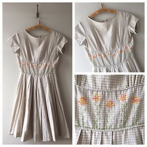 True-Vintage-USA-1950s-Embroidered-Gingham-Cotton-Check-Dress-UK8-10