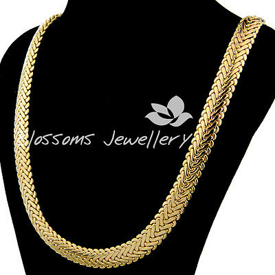 "SOLID 9K 9CT Yellow GOLD GF Flat SNAKE Wide CHAIN NECKLACE 24"" S22A MENS WOMANS"