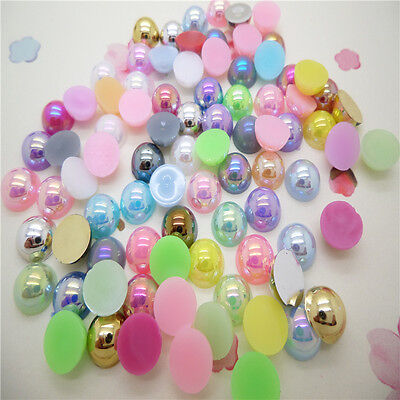 8mm 100 pcs Half Pearl Round Beads Flat Back Scrapbook for Craft a lots color AB