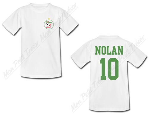 T-shirt Enfant Football Algérie personnalisé avec prénom et numéro au dos