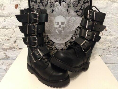 14-loch Leder Gothic STIEFEL mit 4 Schnallen und Stahlkappe HLS Boots