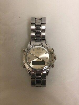 Mens Chrome Azzaro Silver tone Stainless Steel Digital Watch   eBay