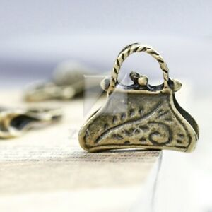 15pcs Antique Brass Loose Charm Pendant Jewelry Findings Round 29x22x2mm BW