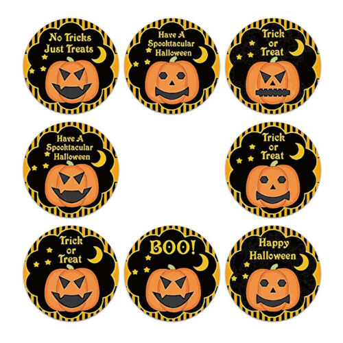 500Pcs//Roll Halloween Pumpkin Decor Labels Seal Stickers DIY Gift Paper Sticker