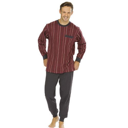 Comte Men's Pyjama Dark Red Cotton Sleep Suits Pajamas Nightwear Red