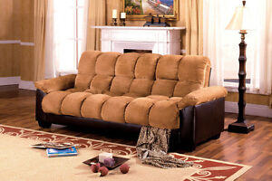 Brantford Camel Elephant Skin  & Espresso Sofa Bed w/ Storage Living Room Couch