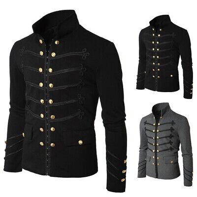 Mens Gothic SteamPunk Jacket Black Gothic Military Band Jacket Goth Vintage Coat