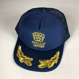 Disney World Epcot Center Snapback Hat VTG Foam Front Cap Navy Blue Gold Leaves