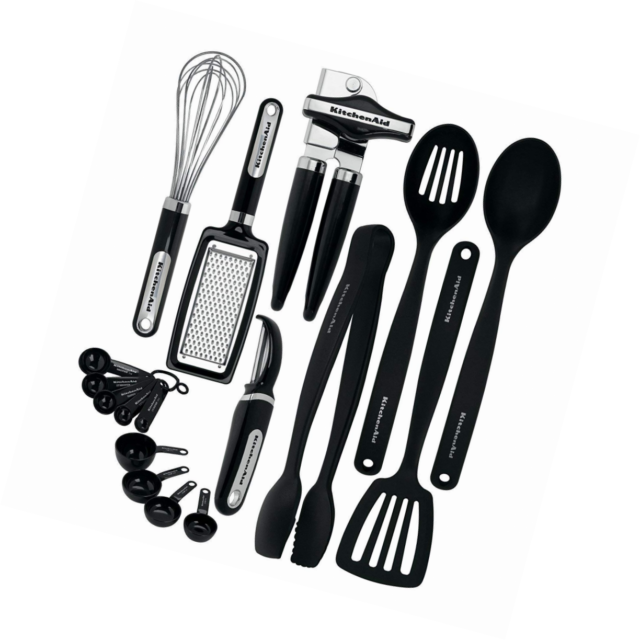 KitchenAid KC448BXOBA 17-Piece Tools and Gadget Set, Black