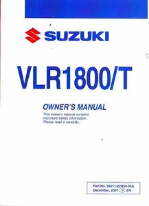 2008 suzuki boulevard c109r rt vlr1800 t motorcycle owners manual rh ebay com suzuki motorcycle owners manual pdf Suzuki DS80 Manual