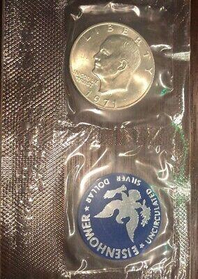 "1971 S Silver Eisenhower Dollar /""Blue Ike/"" Original Government Packaging"