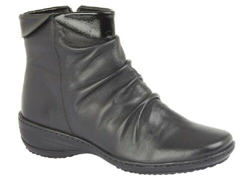MOD COMFYS L479 Leather X-Wide Folded Vamp Inside Zip Ankle Boots