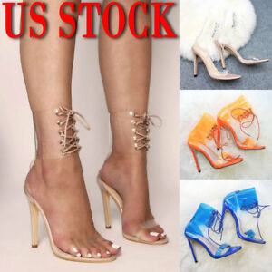 b30369f09e6 Image is loading High-Heels-Stiletto-Party-Sandals-Ladies-Transparent-Lace-