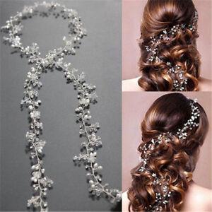 New-Pearl-Wedding-Vine-Crystal-Bridal-Diamante-Headbands-Women-Hair-Accessories