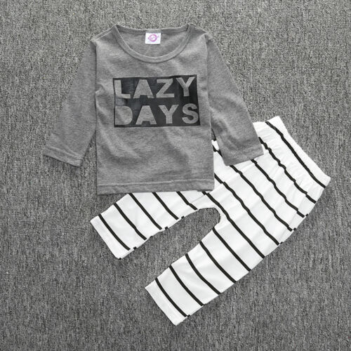 2PCS Newborn Baby Boys Girls Kids T-shirt Tops Leggings Pants Outfit Clothes Set