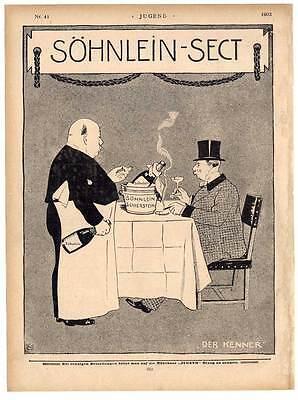 """Sekt-Reklame - Söhnlein - Der Kenner - aus """"JUGEND"""" 1902"""