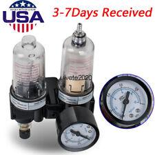 14 Air Compressor Filter Oil Water Separator Trap Tool With Regulator Gauge Safe