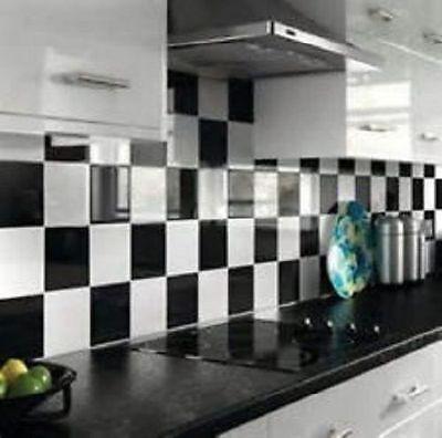 50 Mixed Gloss Black White 6 X 6 Tile Transfers Kitchen Bathroom Easy Apply Ebay