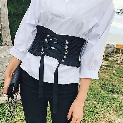 Women Steampunk Corset Vintage Laced Up Elastic Waistband Gothic Dress Belt UI