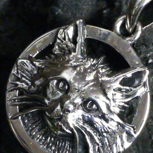Peter Stone Krafttier Seelenführer süßer Katze Schmuckanhänger 925 Silber v