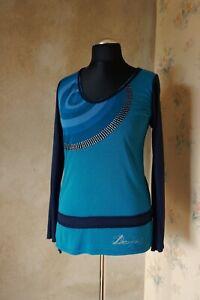 Da-donna-Desigual-Camicetta-M-10-12-Top-T-shirt-Impreziosito-Top-Casual-a-Maniche-Lunghe