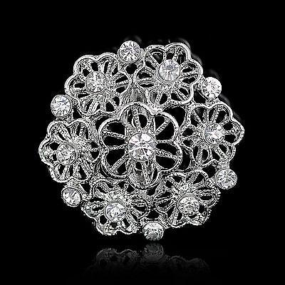 Wedding Silver Rhinestone Crystal Flower Lady Brooch Pin Brooches Bridal Bouquet