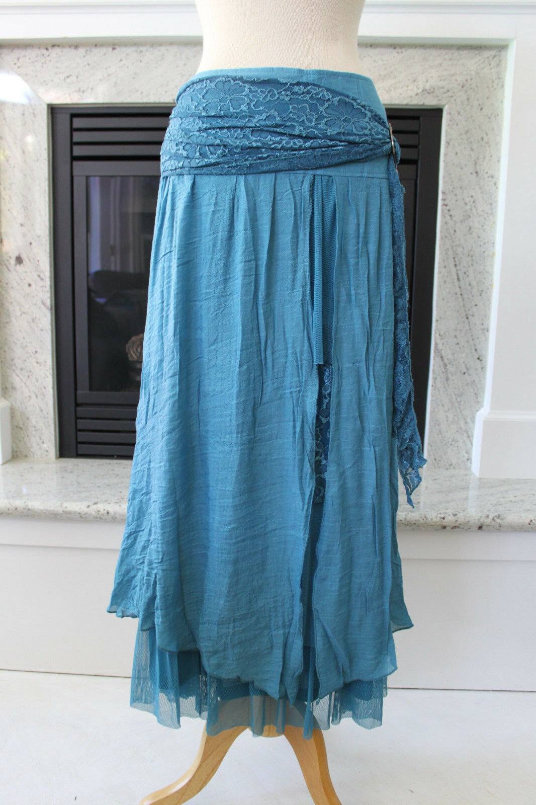 PRETTY ANGEL NWT bluee Gorgeous Layered Lace Peasant Gypsy Boho Long Skirt S