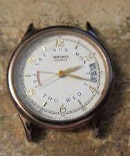 vintage Seiko day date quartz mens watch model 6F26 6009